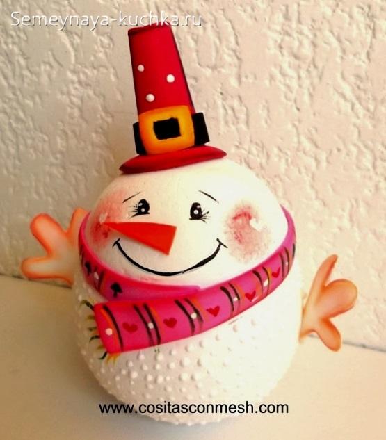 как сделать красивого снеговика игрушку