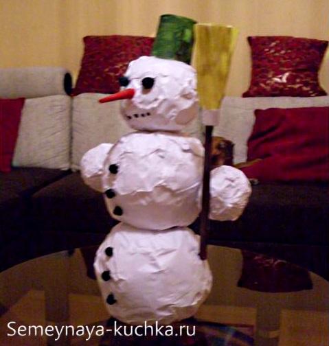мастер-класс снеговик из комков газеты и бумаги
