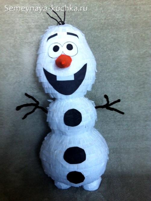 снеговик из шаров и туалетной бумаги