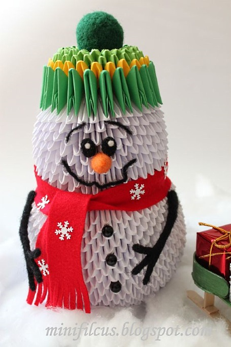 снеговик из модульного оригами
