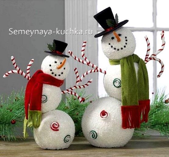 снеговик из пенопластовых шаров как сделать