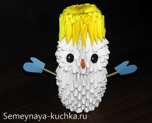 снеговик из модульного оригами своими руками