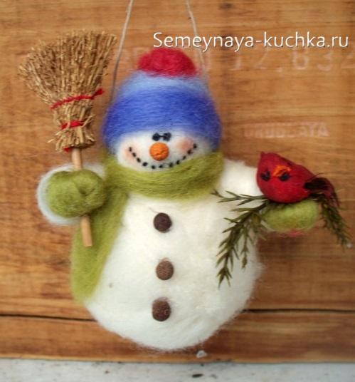 как сделать снеговика из войлочной шерсти