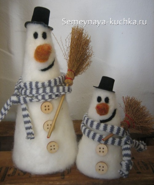 как сделать снеговика из войлока мокрым способом