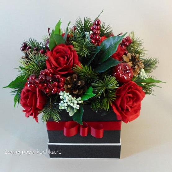новогодний букет в подарочной коробке