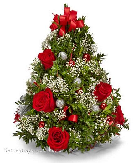 новогодний букет елка из живых цветов