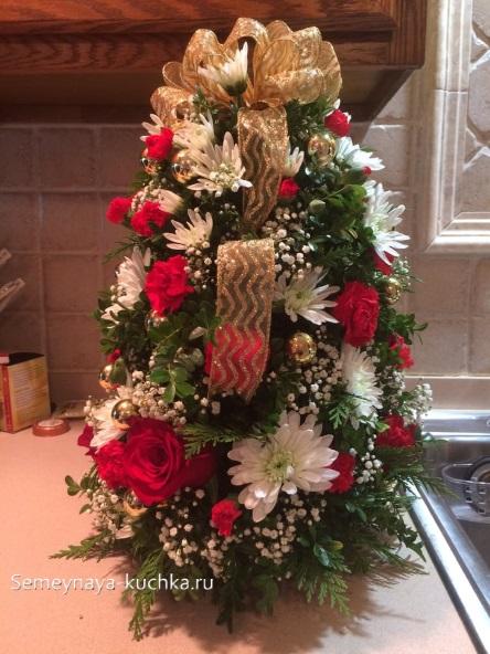 новогодний букет елка из роз