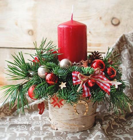 новогодний букет со свечой