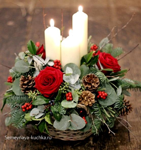 новогодний букет со свечами