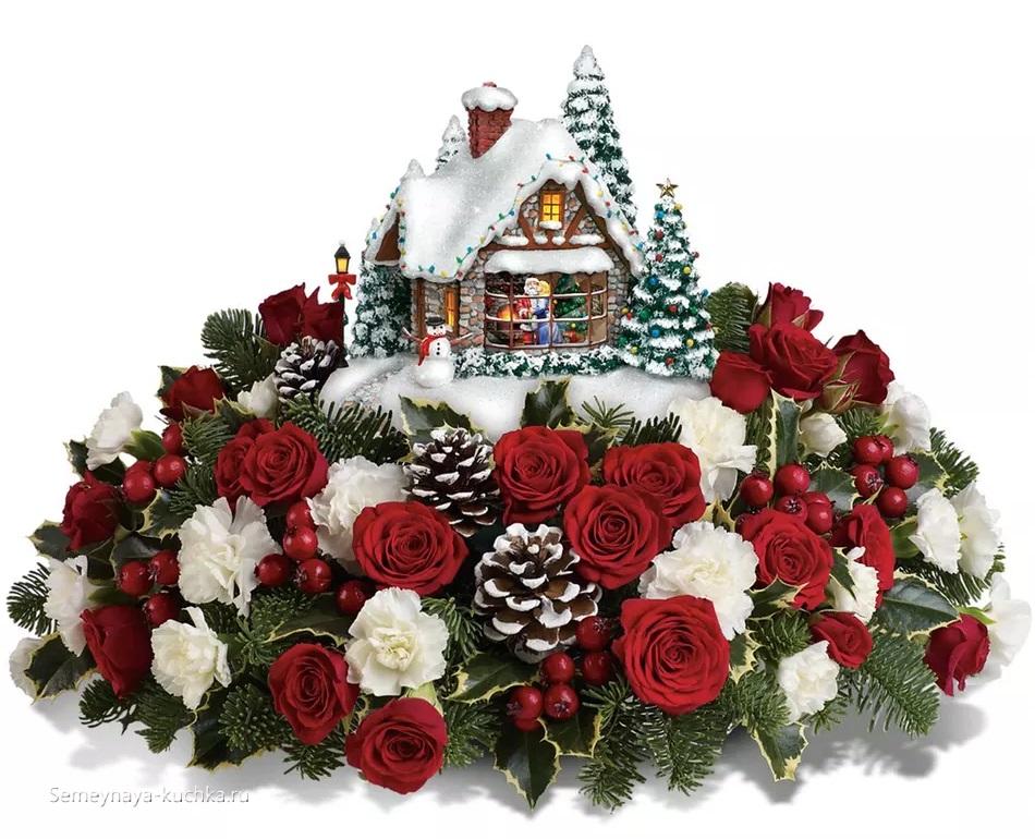 новогодний букет с белыми и красными розами