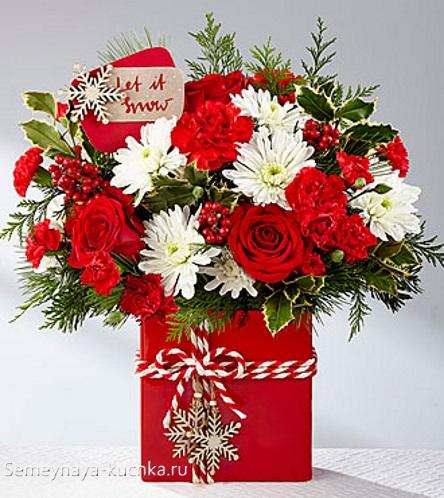 новогодний букет розы красные хризантемы белы