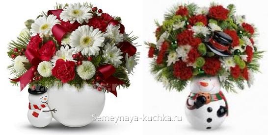 новогодний букет из живых цветов герберы розы