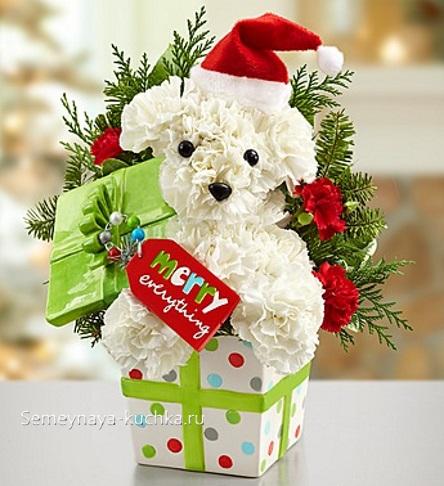 новогодний букет детский со щенком собака