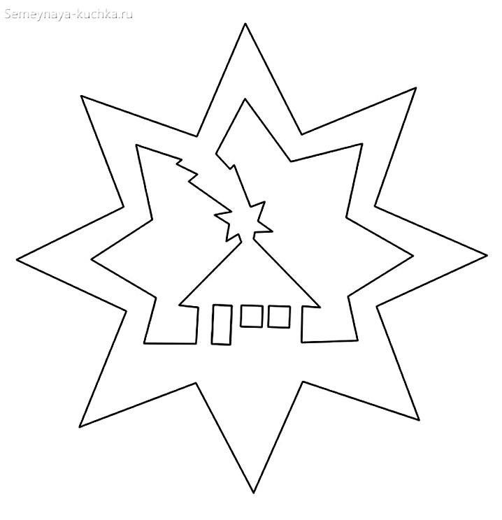 шаблон новогодней елки на окно звезда
