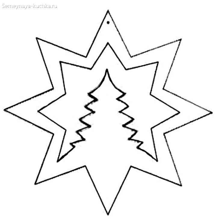 шаблон звезда с елкой на окно