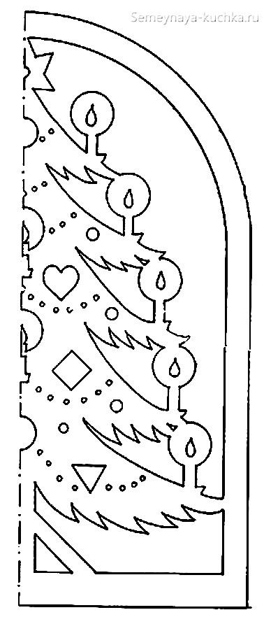 новогодний шаблон на окно елка