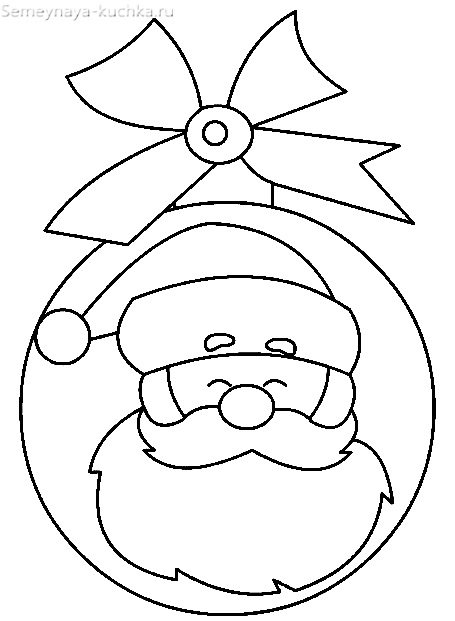 новогодний шаблон шар с дедом морозом