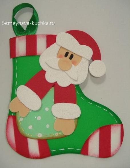 шаблон новогодний сапожок с дедом морозом