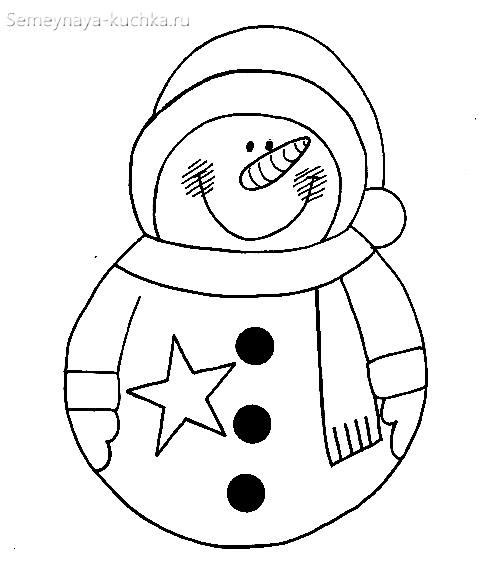 шаблон снеговик для поделок новогодних