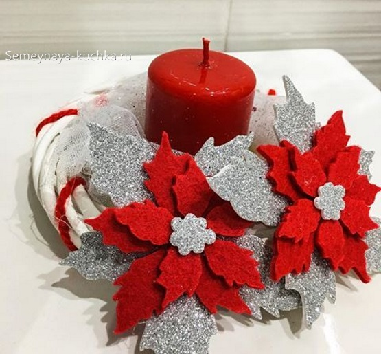 шаблон новогодний венок цветок красный