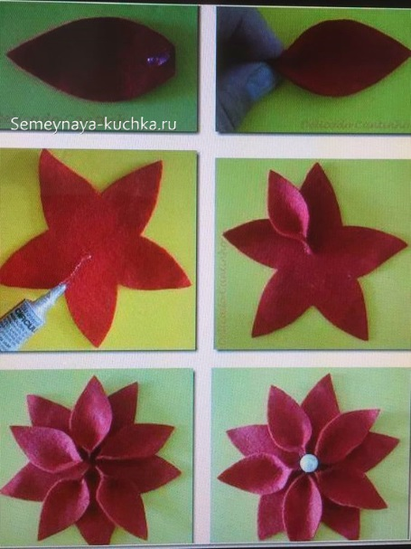как сделать новогодний цветок по шаблону