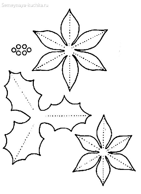 шаблон новогоднего цветка