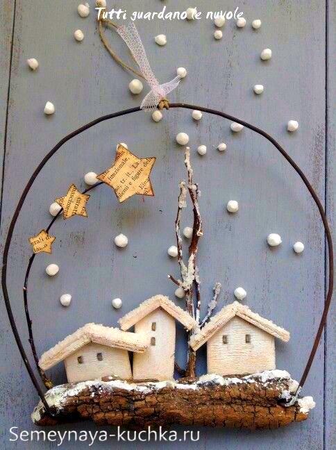 поделки на новый год из дерева