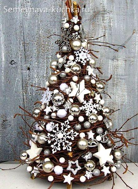 новый год из дерева елка из веток