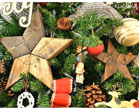 новогодняя звезда из дерева