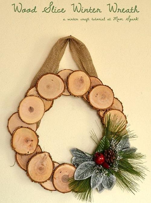 новогодний венок из дерева