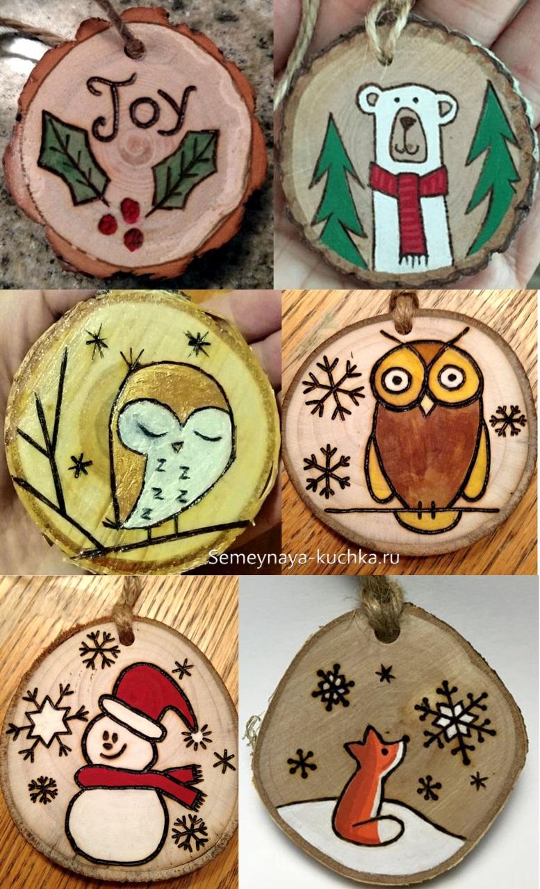 елочные украшения из дерева на новый год