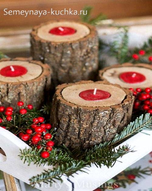 подсвечники на новый год из дерева