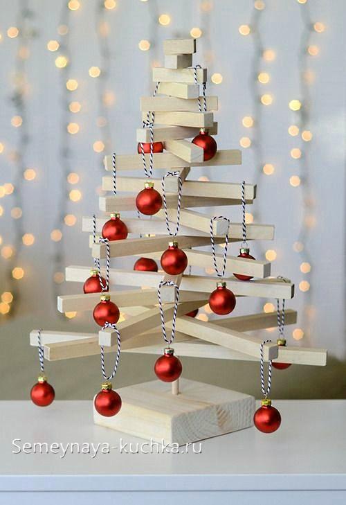 поделка елка из дерева новогодняя