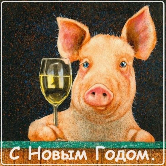 открытка свинья с новым годом