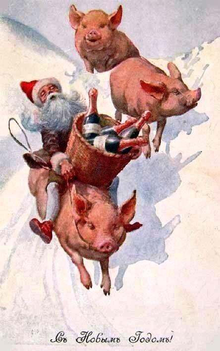 открытка с новым годом свинья