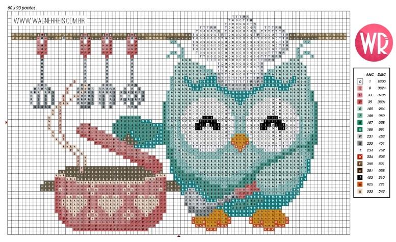 схема сова детская вышивка крестиком