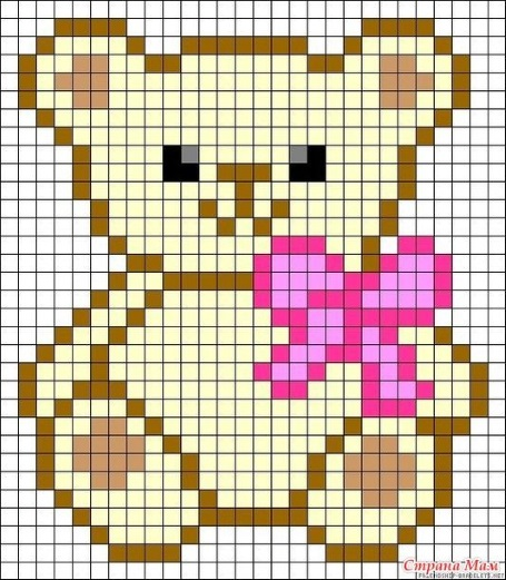 мишка детские схемы крестиком