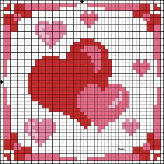 сердце детские схемы крестиком