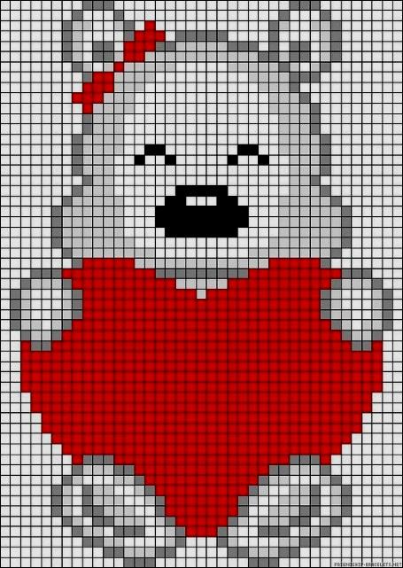 мишка медведь детские схемы крестиком