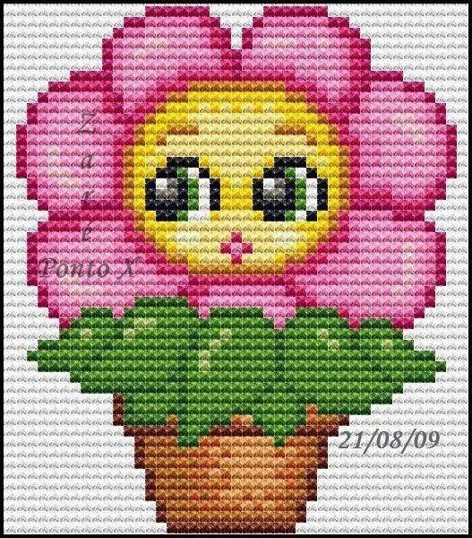 схема цветок детская вышивка крестиком