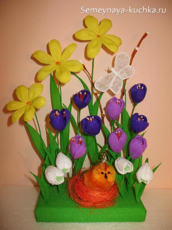 весенние цветы из бумаги поделки
