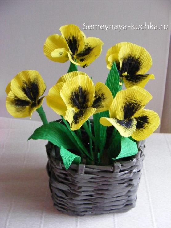 весенние поделки цветы анютины глазки из бумаги