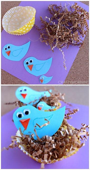 весенние поделки гнездышко с птичками