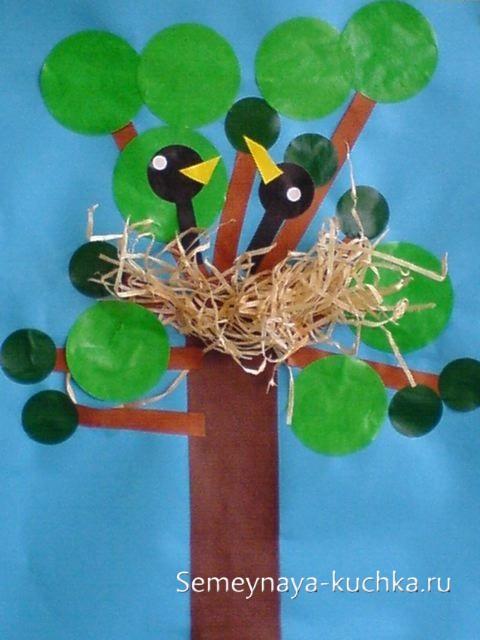 весенние поделки гнездо на дереве