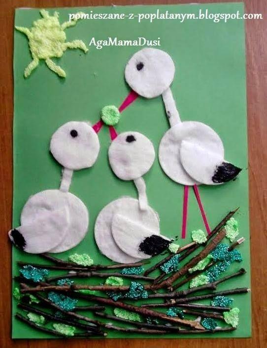 весенние поделки аистята в гнезде