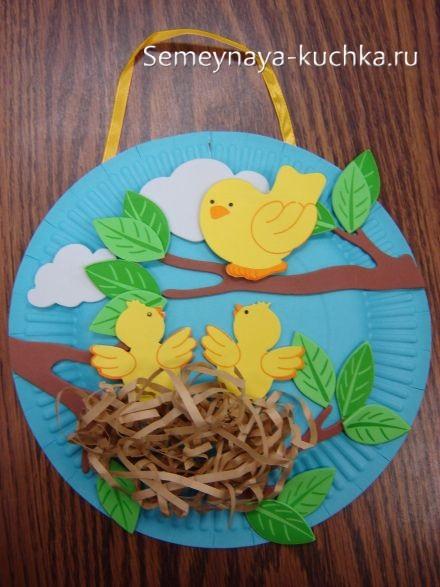 весенние поделки гнездо с птичками