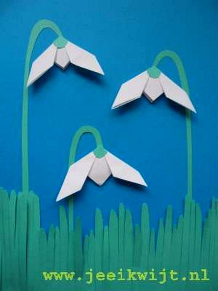 поделка весенняя оригами подснежники