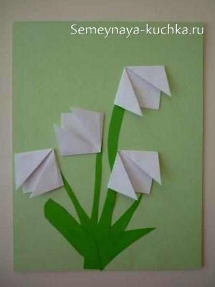 весенняя поделка подснежники из бумаги детский сад