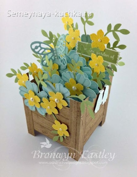 цветы в ящике поделка из бумаги
