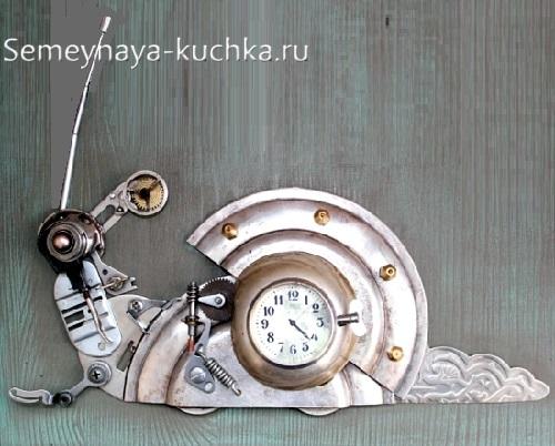поделка из металла и часов улитка